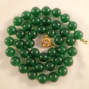 "Green Jade Stone Bead Necklace 19"" 10mm"